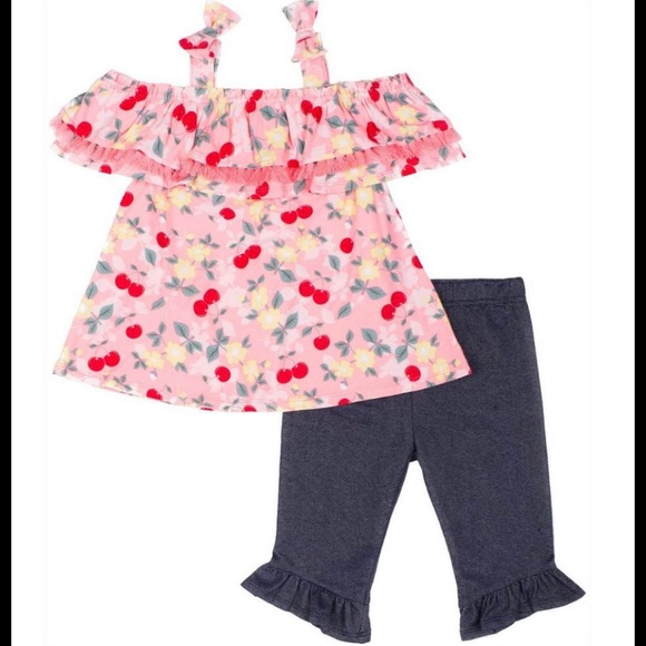 Little Lass Cherry Print Cold Shoulder Top & Capri